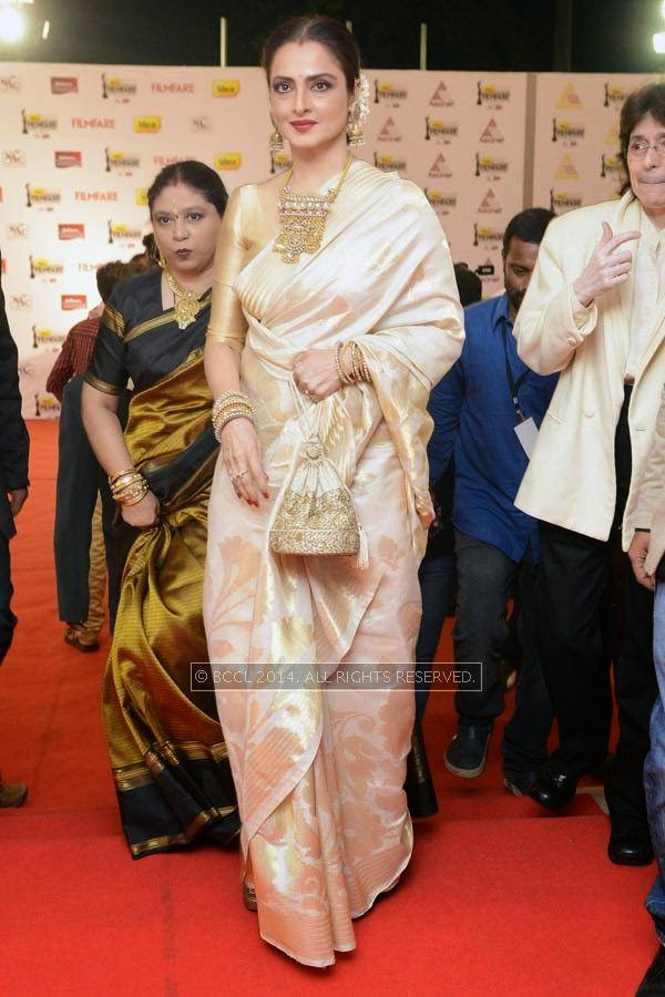 Bollywood diva Rekha during the 61st Idea Filmfare Awards South, held at Jawaharlal Nehru Stadium in Chennai, on July 12, 2014.