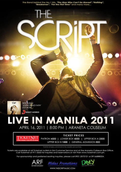 The_Script_Live_in_Manila_2011, THE SCRIPT LIVE IN MANILA | APRIL 16, 2011 | ARANETA COLISEUM