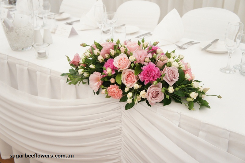 Sugar bee flowers pink and white wedding head table arrangement junglespirit Choice Image
