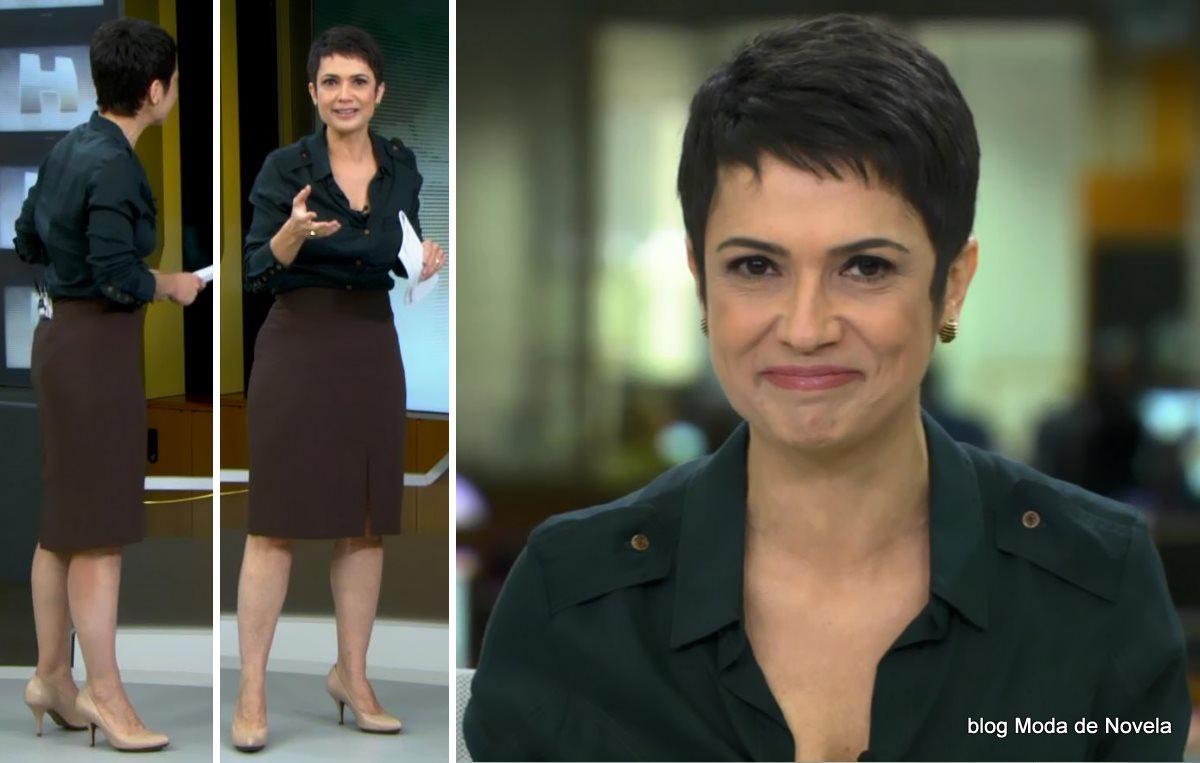 moda do programa Jornal Hoje - look da Sandra Annenberg dia 3 de julho