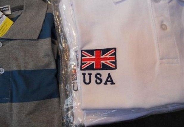 USA Logo On Shirt Show Britain Flag