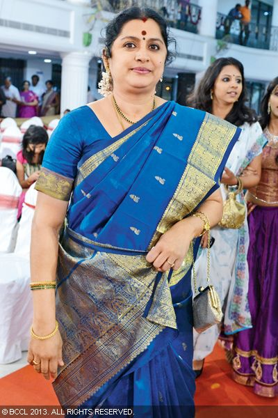 Anuradha Krishnamurthy snapped during Urmitapa and Kaushik's wedding ceremony, held in the city recently.