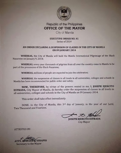 City of Manila: Class suspensions January 09 2014
