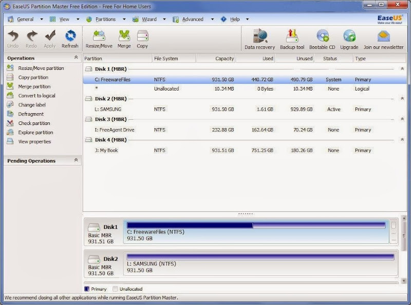 Screenshot of EaseUS Partition Master Home Edition v.9.2.2 Partion Tool PC Software Free Download at Alldownloads4u.Com