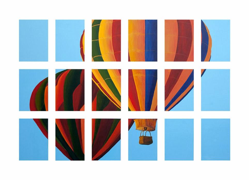 Dos globos, pintura en acrílico de Juan José Pedrosa