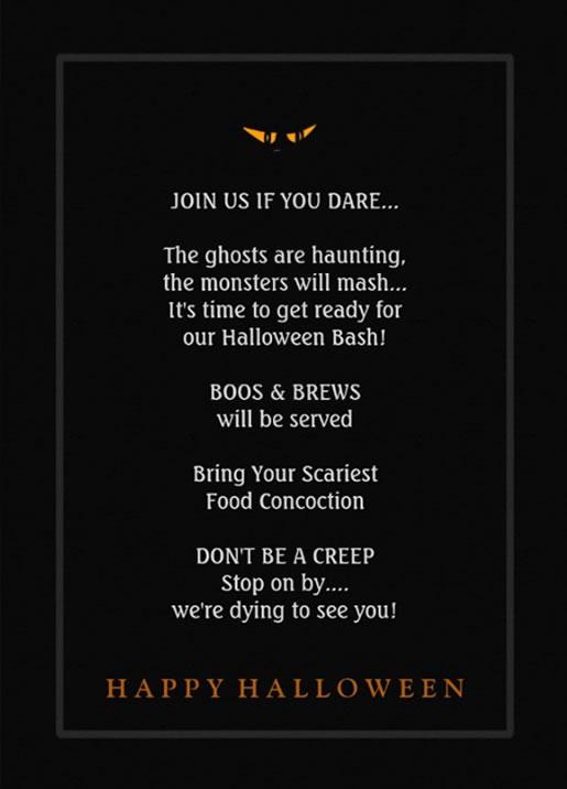 Halloween invitations halloween bash ghoulish drinking invite back of halloween invitation stopboris Images