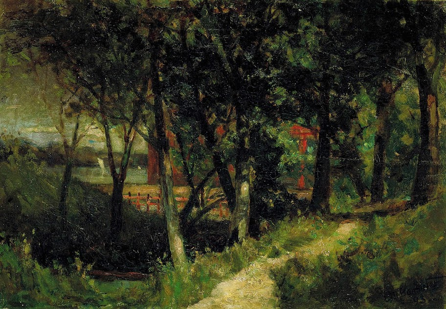Edward Mitchell Bannister - Untitled (landscape, forest scene with red fence and building)
