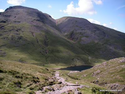 Styhead Tarn with Great Gable above-left