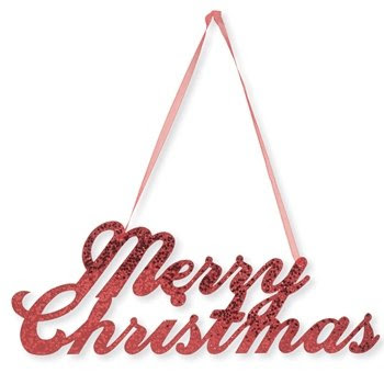 Merry Christmas Glitter Sign with Ribbon Hanger
