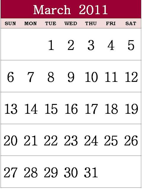 march calendar printable 2011. Free Printable Calendar 2011