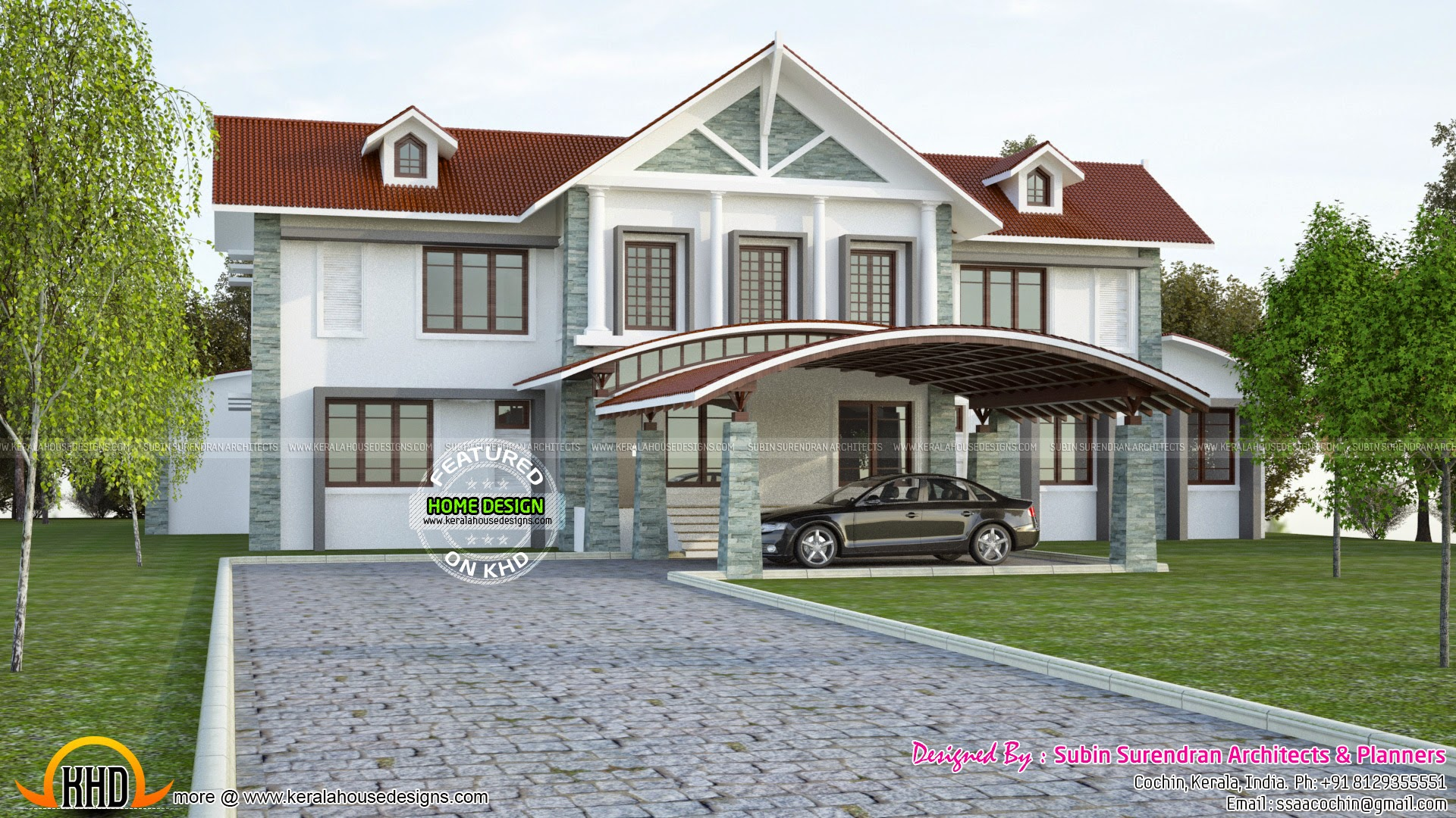 Luxury house with swimming pool kerala home design and for Pool design in kerala