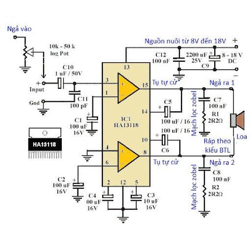 ampli%2520HA13118 Ứng dụng: Mạch khuếch đại công suất âm thanh dùng cho xe hơi dùng IC HA13118