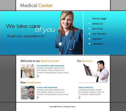 Free Health Blue Green Flash Website Template