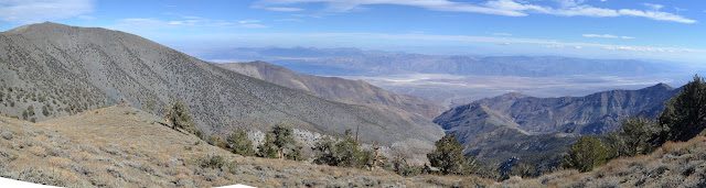 Badwater below in Death Valley