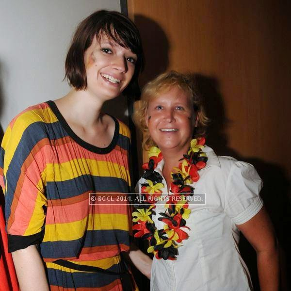 Katherina and Jeanette during the 2014 FIFA World Cup final screening, held at Germany embassy, in New Delhi, on July 13, 2014.