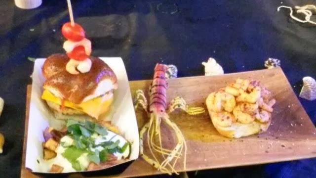 A shrimp burger and chips sold at the World Food Market, Brick Lane