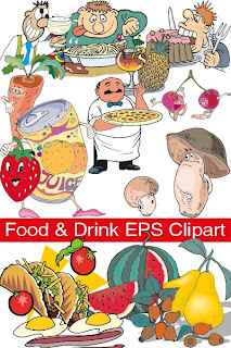 коллекция векторного клипарта на тему еды и напитков