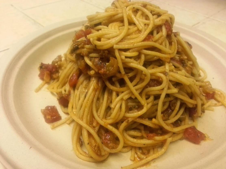 Daniel Fast Meatless Spaghetti with soy chorizo
