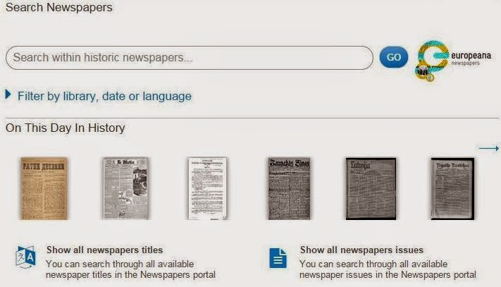 The European Library Newspapers browser