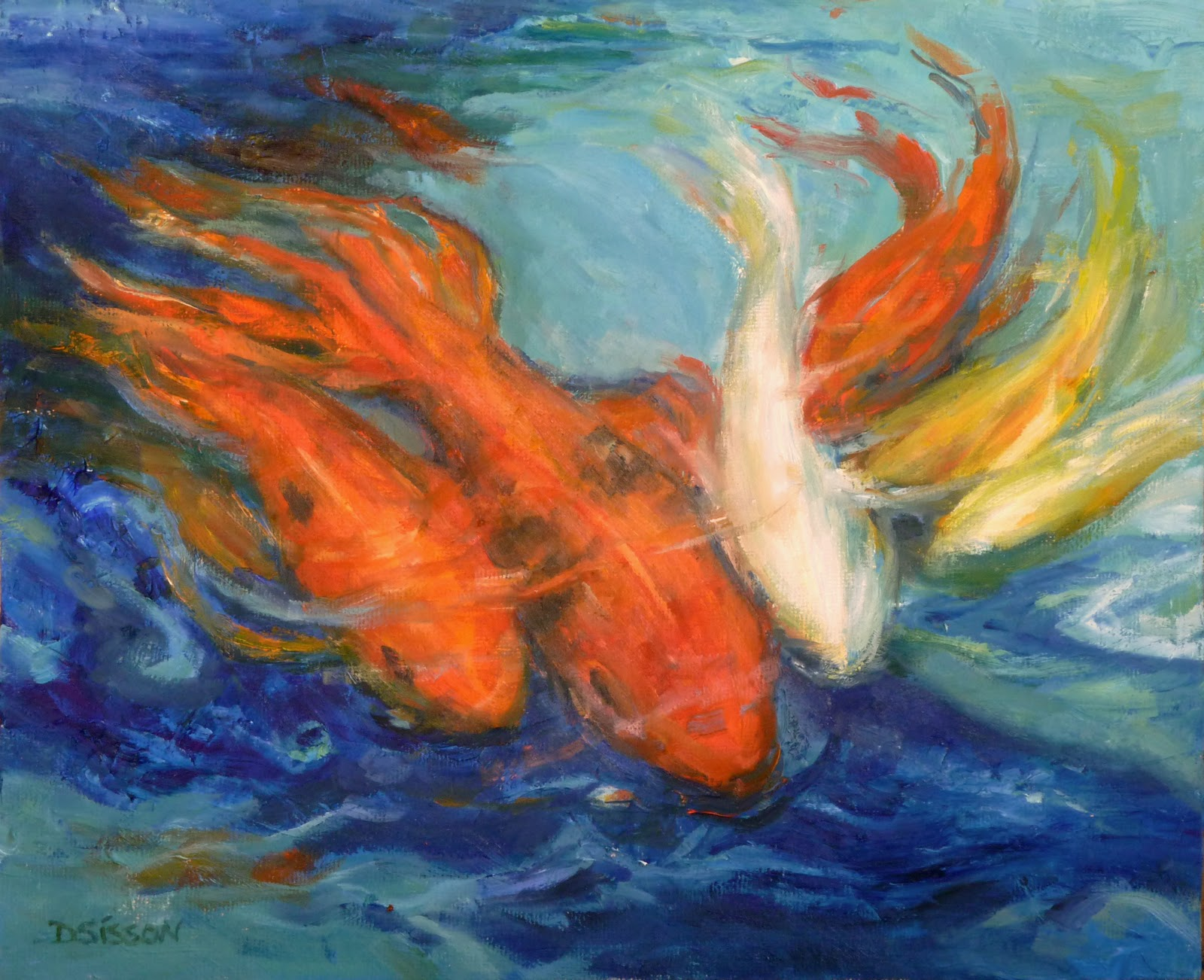 Daily painting projects koi in pool oil painting fish for Abstract animal paintings