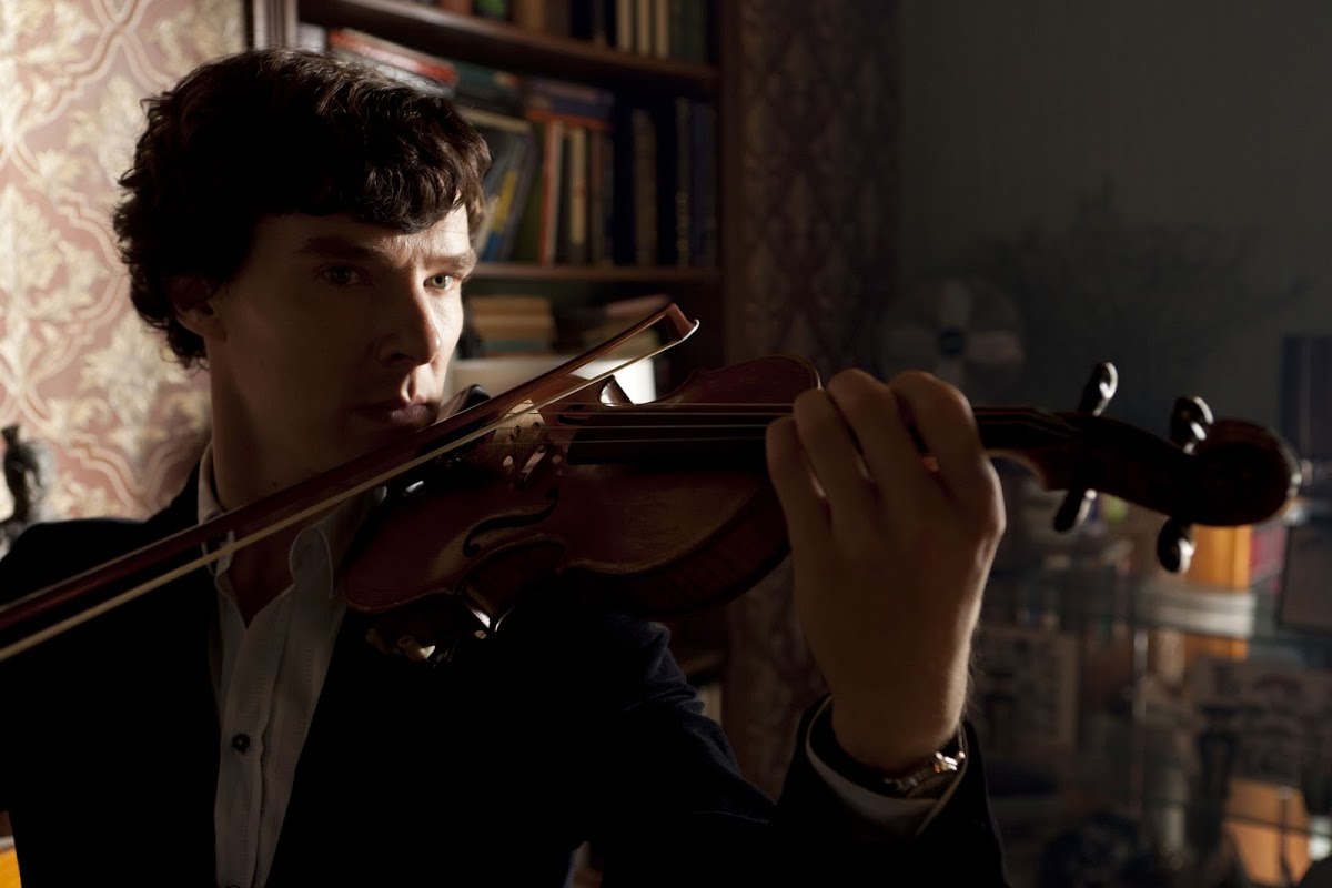 Sherlock playing the fiddle
