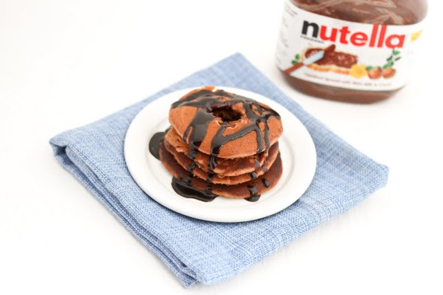 overhead photo of Nutella Donut Pancakes