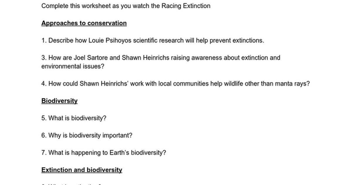 Racing Extinction Video Worksheet Google Docs – Biodiversity Worksheet