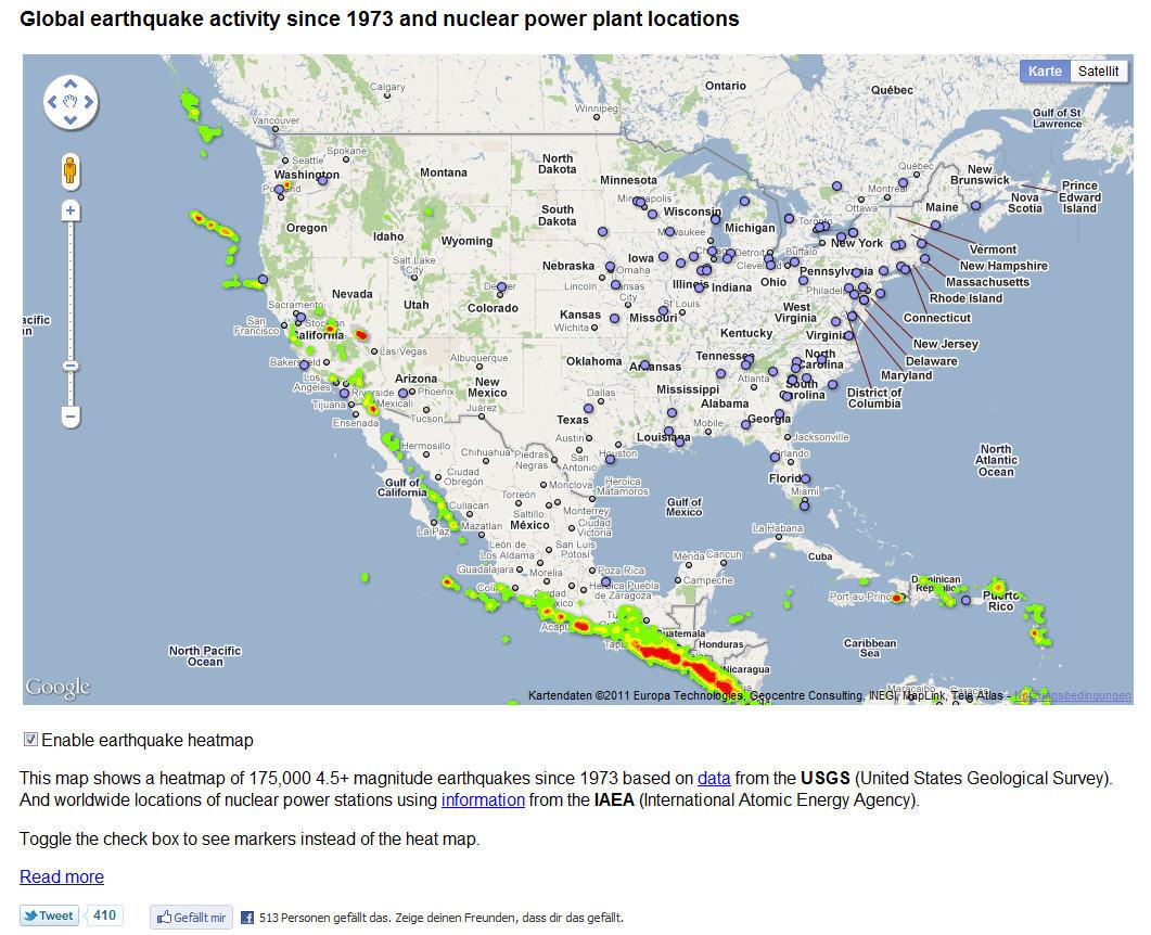 Interaktive Weltkarte der Erdbebengebiete um ...