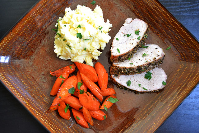 herb roasted pork meal