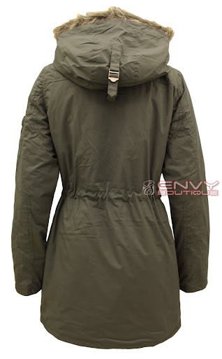 99727 LJK MILITARY CANVAS FAUX FUR HOODED JACKET KHAKI BACK.jpg