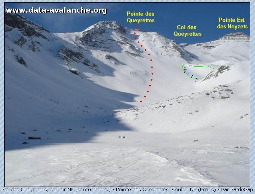 Avalanche Oisans, secteur Pelvoux, montée au col des Queyrettes - Photo 1