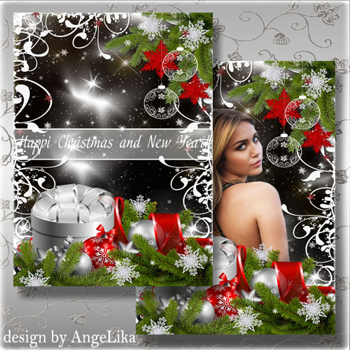 PSD Source - Celebratory Card and Photoframe with Fir-tree Spheres and Snowflakes