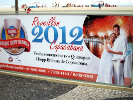 Copacabana Beach New Year's Eve party sign in Rio de Janeiro Brazil