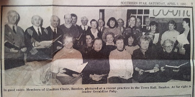 The Glaslinn Choir in 1995 at rehearsal in the Town Hall, Bandon