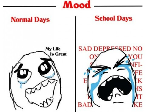 Normal Days VS School Days-mood