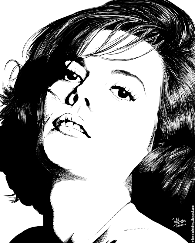 Ink drawing of Natalie Wood, using Krita 2.4.