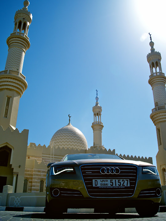 Audi A8 in front of the main mosque at Dibba
