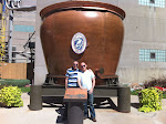Larry and me in front of the giant beer vat