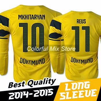 2015 Borussia dortmund Long Sleeve Jerseys REUS MKHITAR