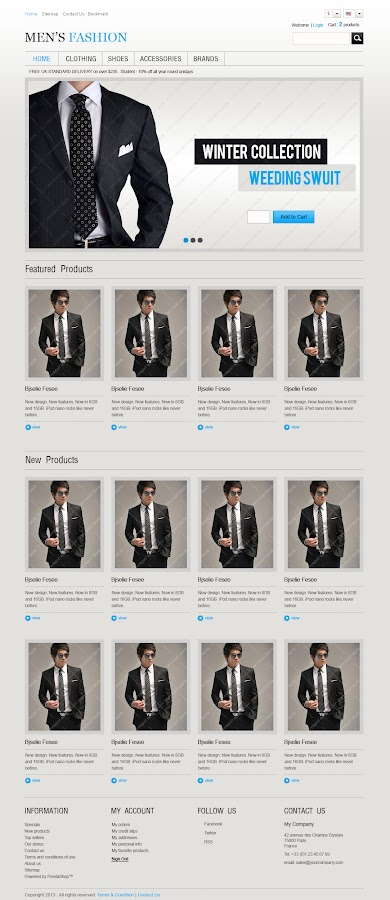 PSD Design of Men's Fashion Template