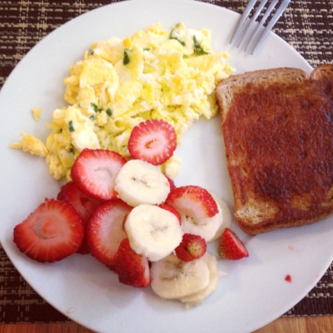Of Whole Wheat Toast With Apple Butter And Some Strawberries Bananas Miss A Scrambled Eggs Cheese Spinach Untouched