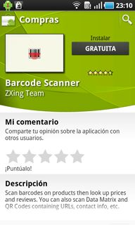 Probar la aplicación AjpdSoft Lector Códigos de Barras Android en un dispositivo Android (Samsung Galaxy S)