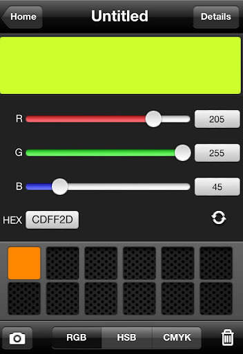 CliqCliq Colors: Slide the controls to create colors in RGB, HSB, or CMYK.