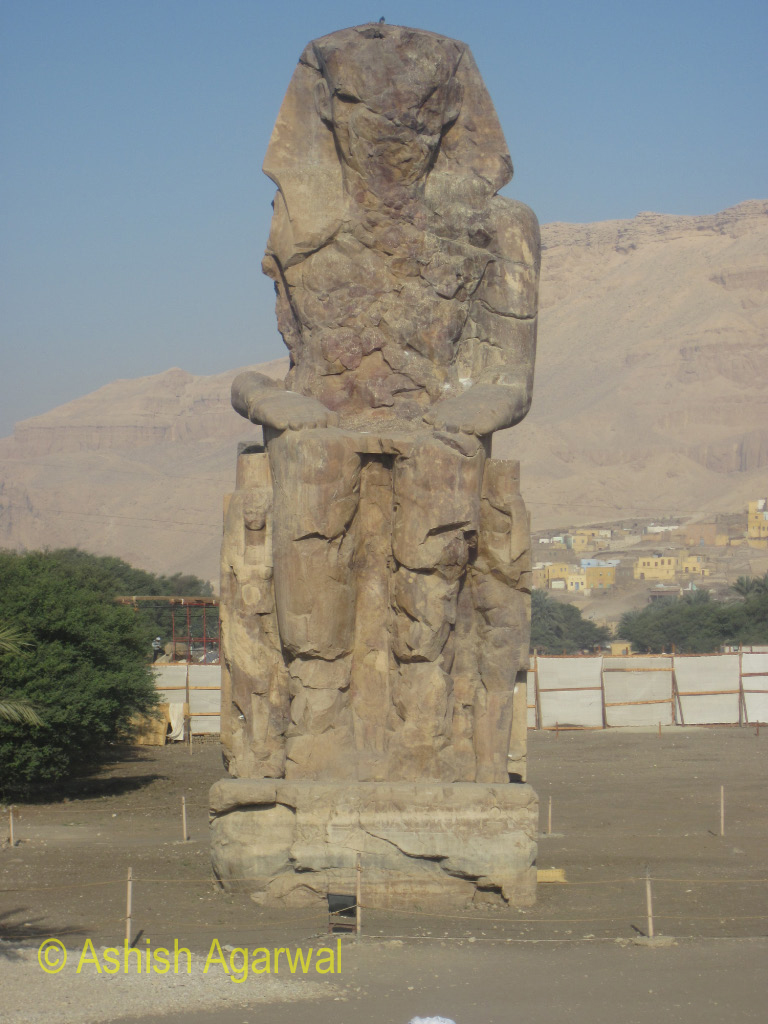 Colossi of Memnon, one of the 2 large statues of the Pharaoh Amenhotep III in Luxor, Egypt