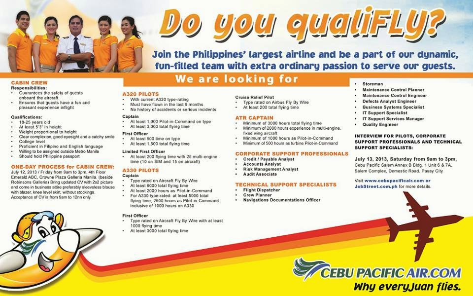 Cebu Pacific Air Job Hiring 2013 – Pilots, Cabin Crew and Support