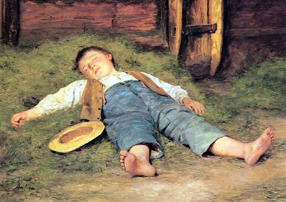 Albert Anker - Knabe im Heu, 1897
