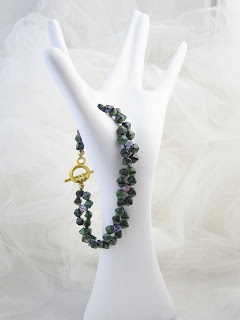 "Dappled - Woven Green & Purple Crystals 7.5""  $15"
