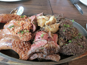 The much more tame meat plate of Ox's Asado Argentino for 2: includes Grilled Short Rib, House Chorizo & Morcilla Sausages, Skirt Steak, Sweetbreads