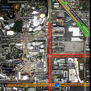 @iamonemike 's screen shot of the traffic around Disneyland