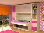 Dormitorios con cama y mesa de estudio abatible, armarios y cajones.